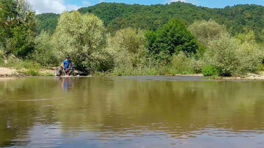 Ortlieb Gravel Pack Test Waterproof River Crossing Bulgaria