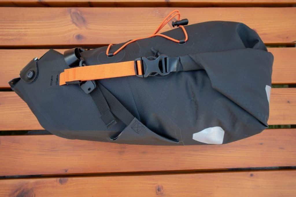 Ortlieb Seat Pack 11L Bikepacking saddle bag packed left