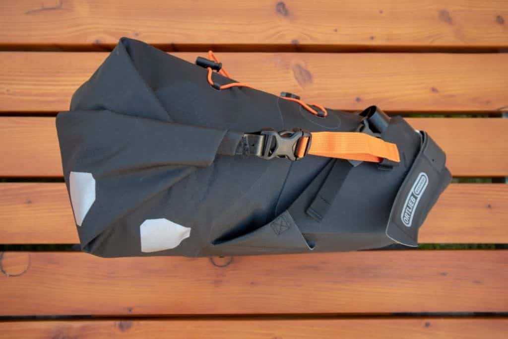 Ortlieb Seat Pack 11L Bikepacking saddle bag packed right
