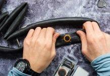 Flicken auf Fahrradschlauch Fahrradreifen wechseln