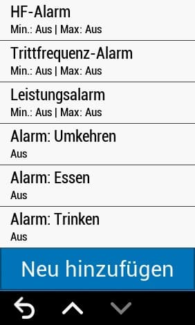 garmin edge 1030 plus alarme
