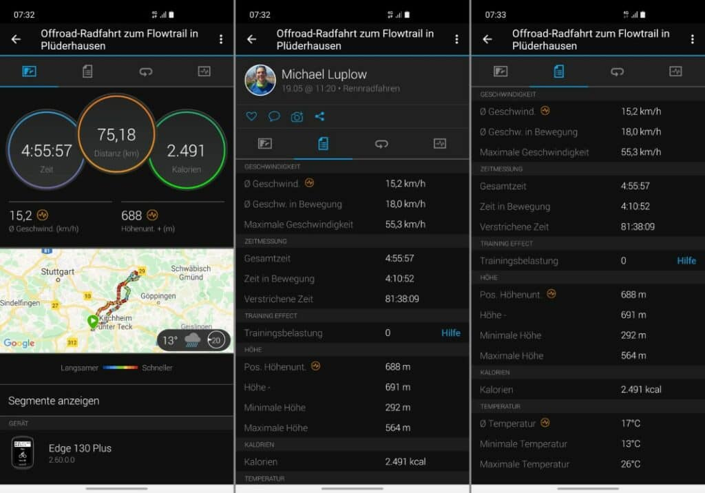 garmin edge 130 plus auswertung garmin connect app