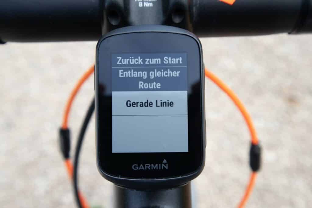 garmin edge 130 plus navigation zurück zum start