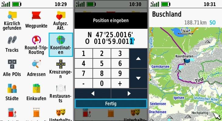 garmin gpsmap 66sr navigation koordinaten