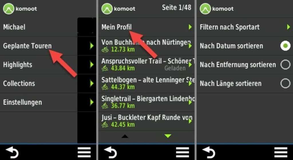 komoot connect iq app touren filtern