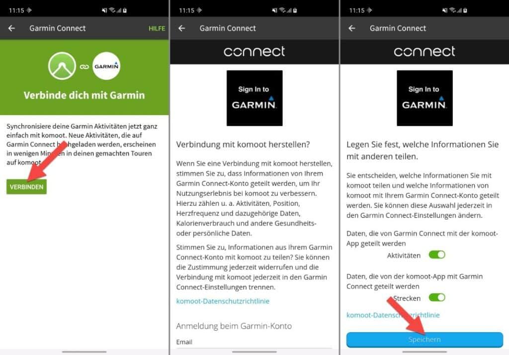 komoot mit garmin verbinden app einrichtung